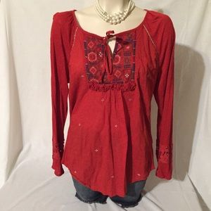 Red Embroidered Tunic Top 100% L